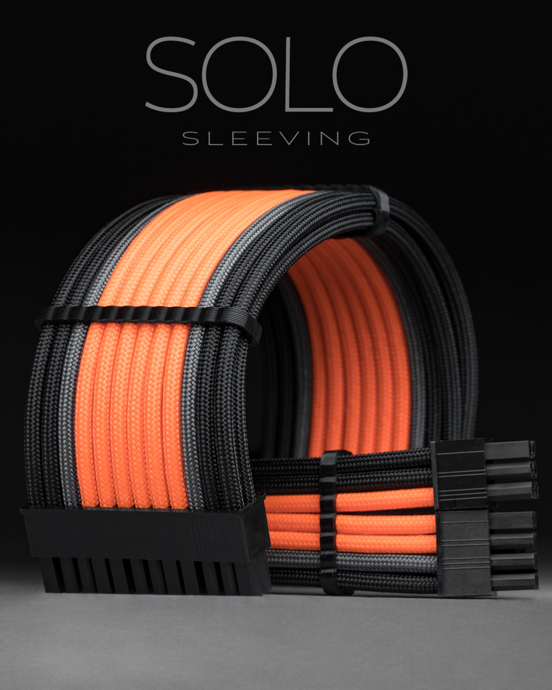 Orange and black paracord PC cable extensions