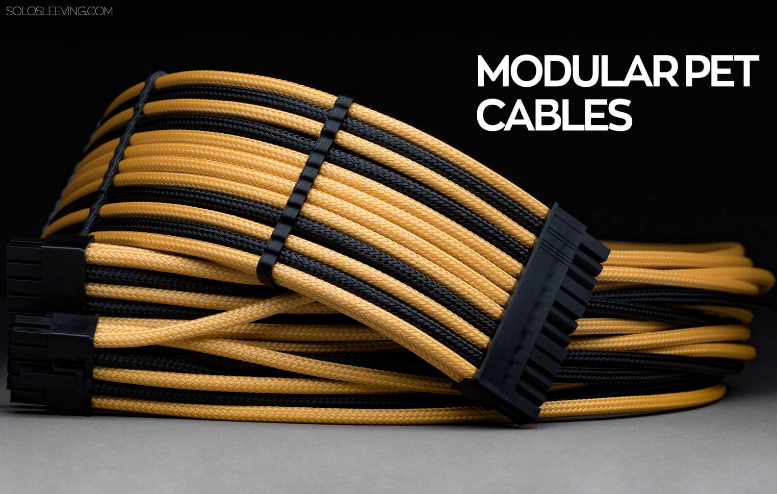 PET sleeved modular PSU cables handcrafted in the USA.