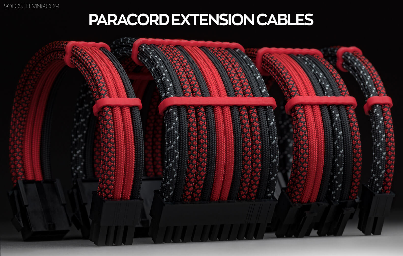 Handmade, custom paracord sleeved pc extension cables in red.