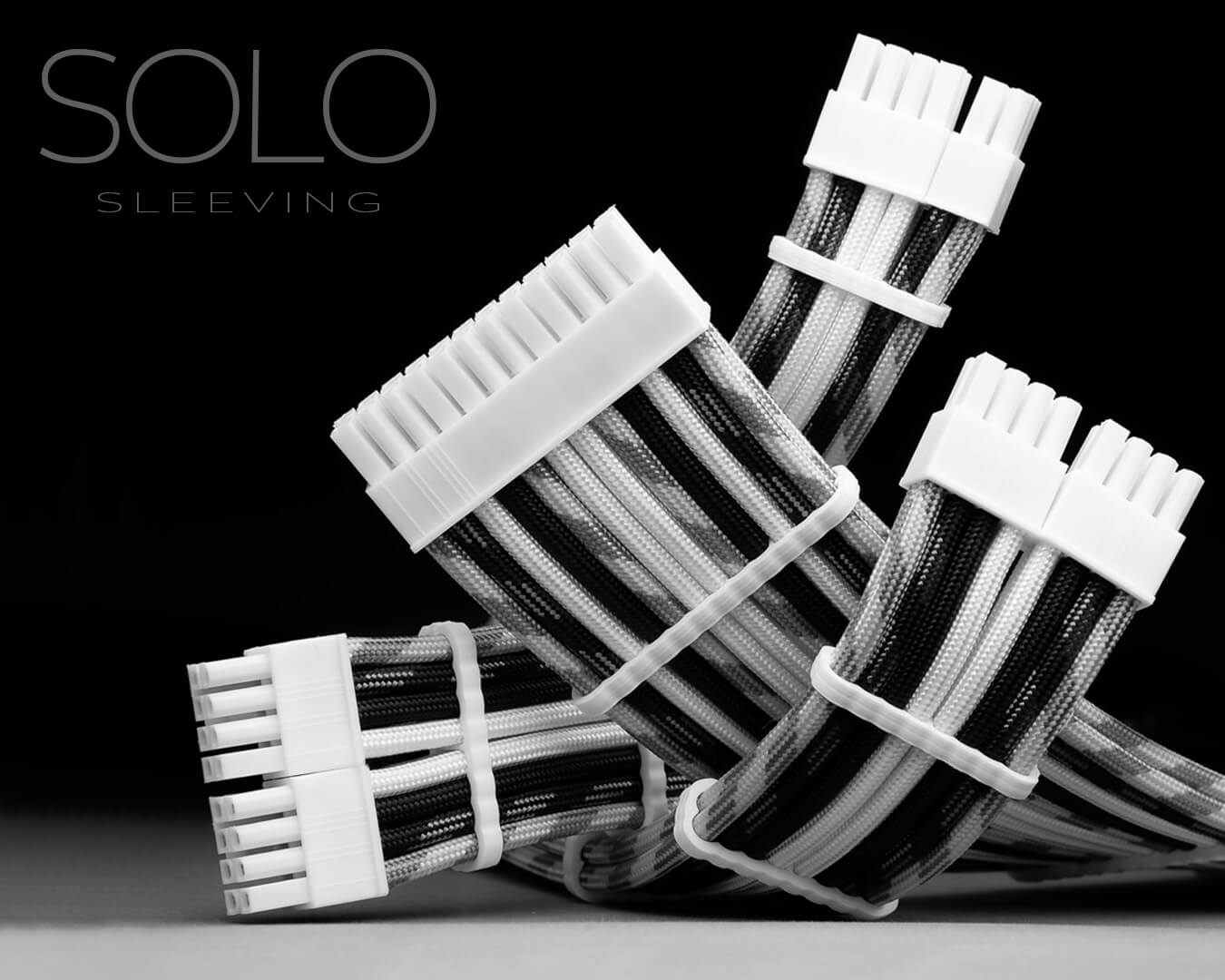 Black and White Sleeved Modular Cables for Sponsorship