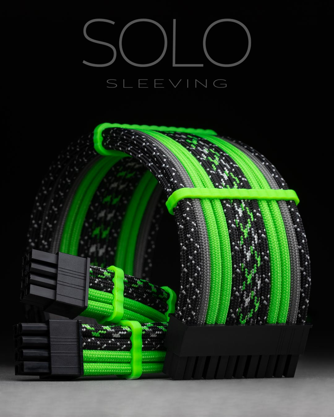 Neon Green Sleeved Extension Cables for Custom PC Builds