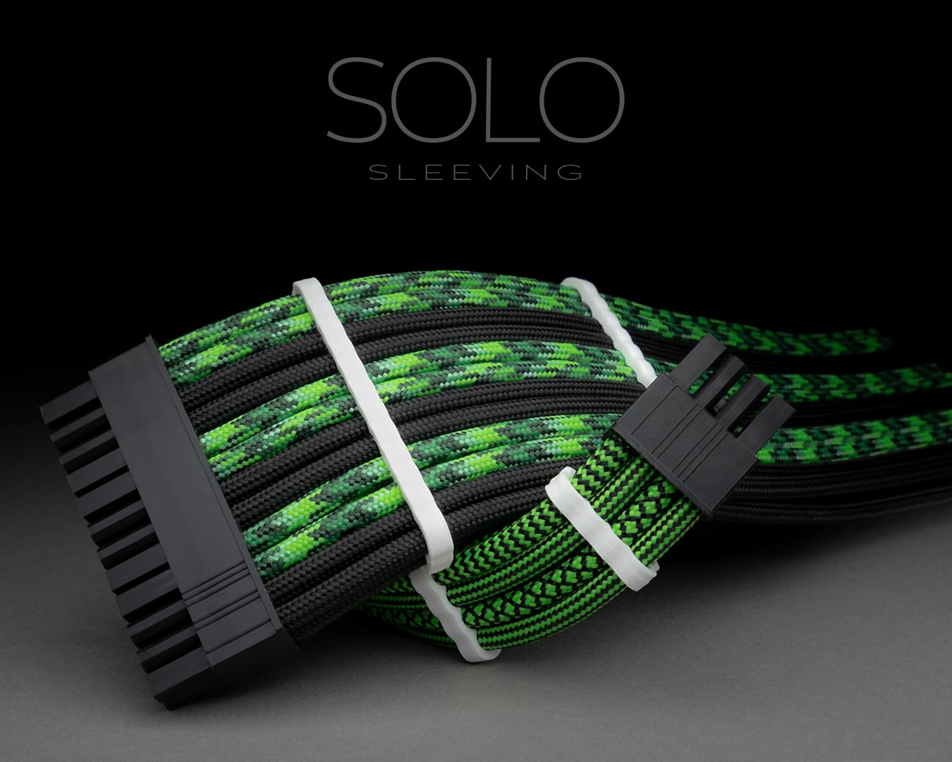 Neon Green and Black Sleeved Extension Cables