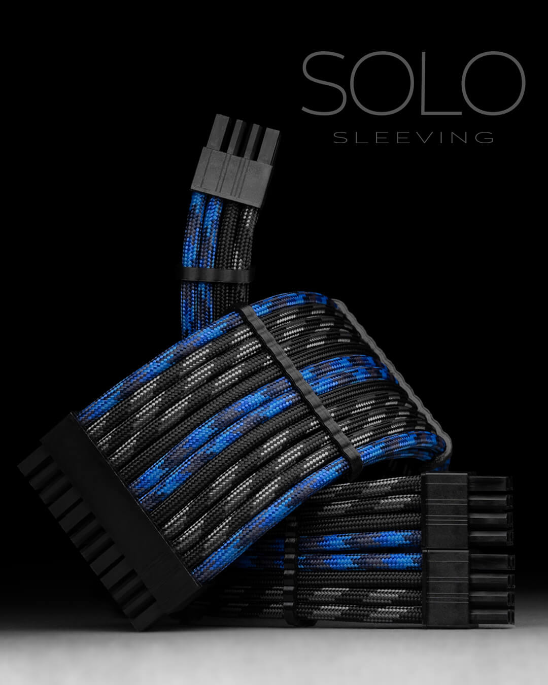 Blue and Black PSU Cables for Custom PC Build
