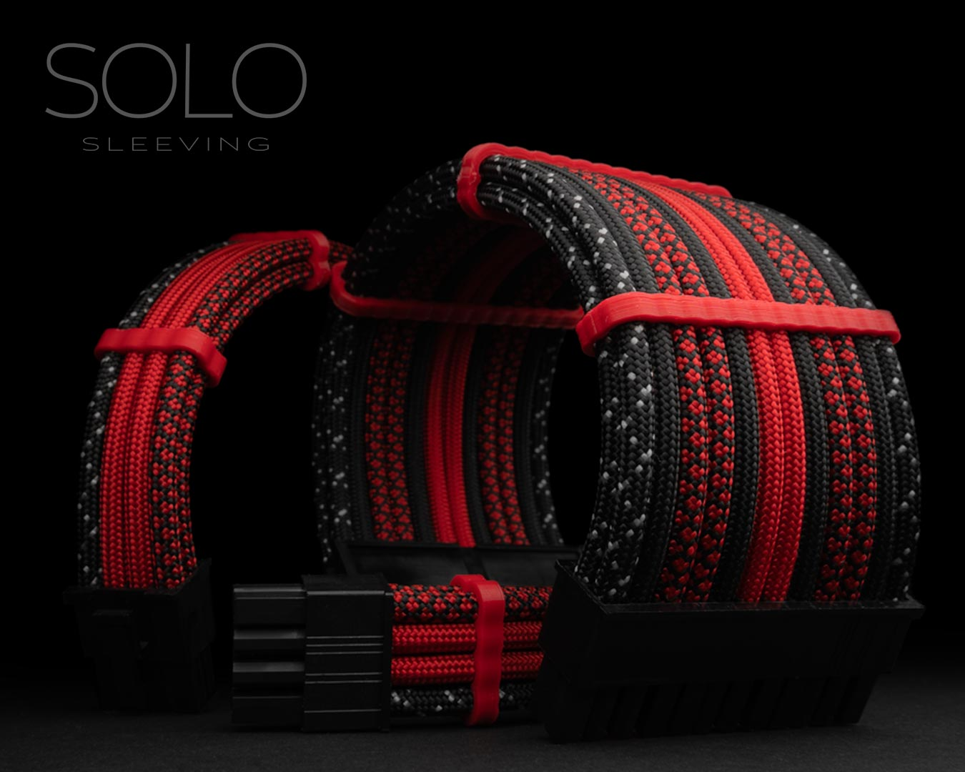 Red and Black Sleeved PC Cables
